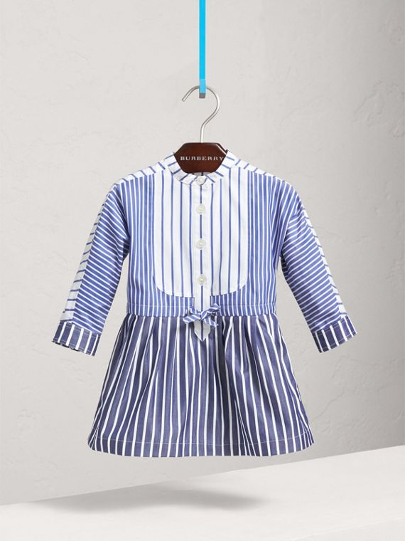 Contrast Stripe Cotton Dress in Indigo