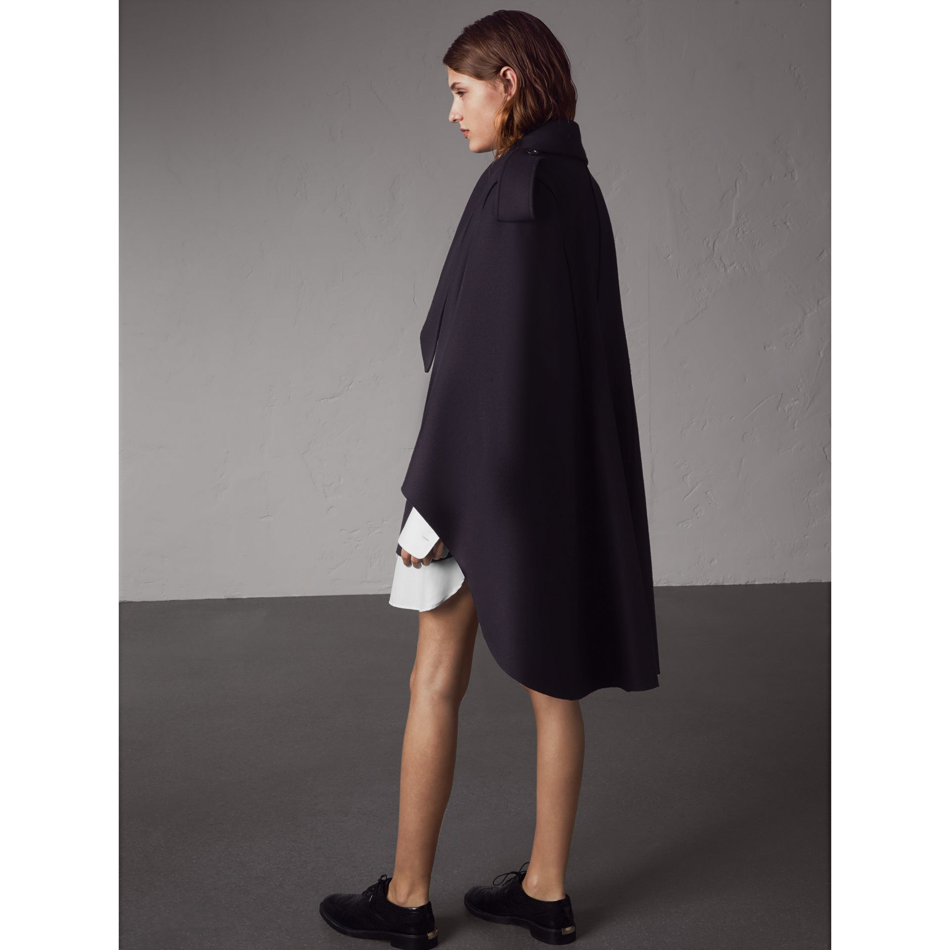 Wool Cashmere Blend Military Cape in True Navy - Women | Burberry - gallery image 3