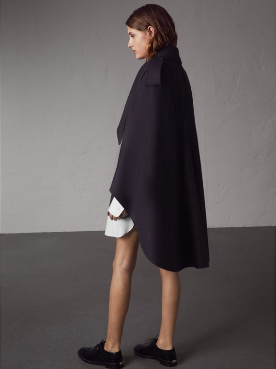 Wool Cashmere Blend Military Cape in True Navy - Women | Burberry - cell image 2
