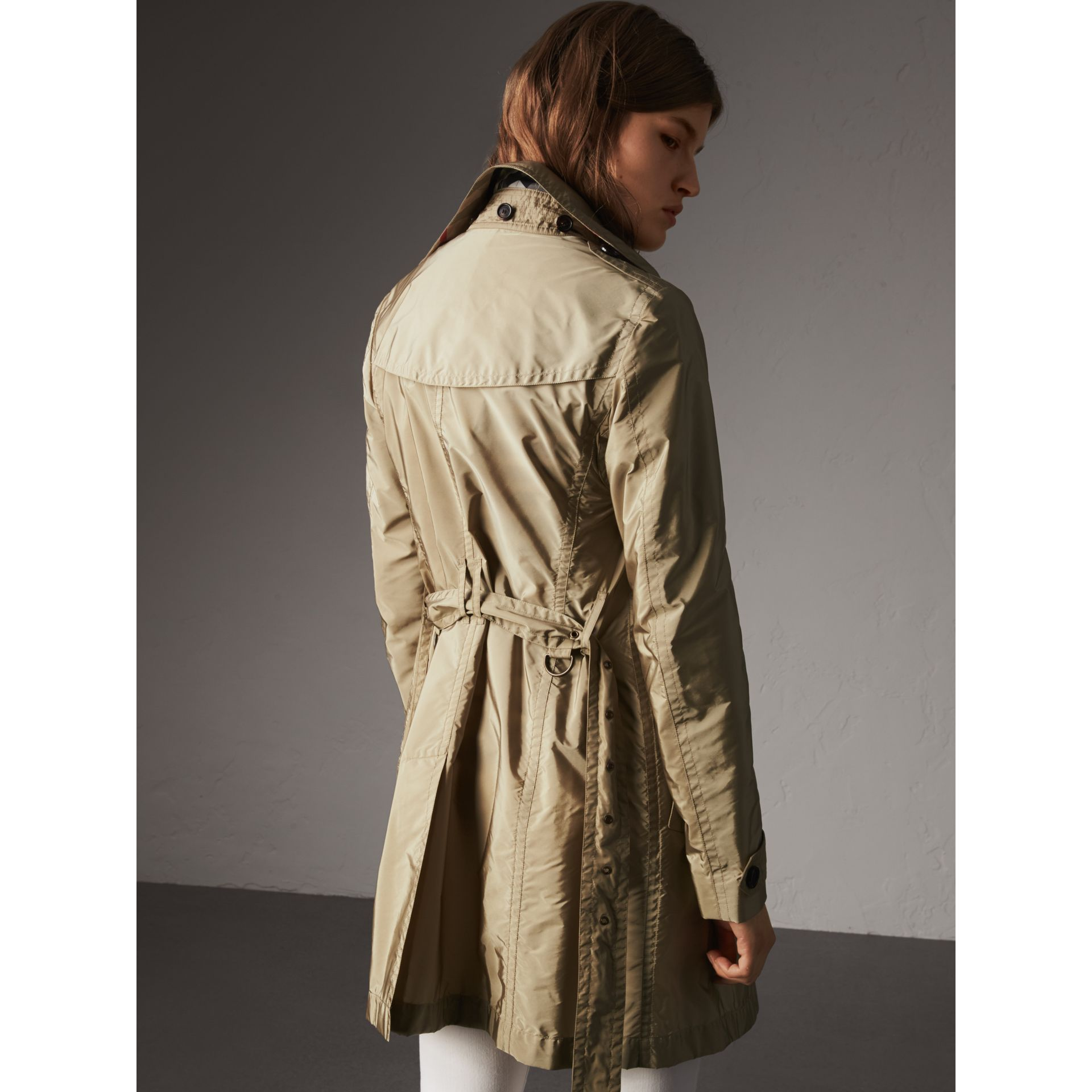 Taffeta Trench Coat with Detachable Hood in Sisal - Women | Burberry United Kingdom - gallery image 3