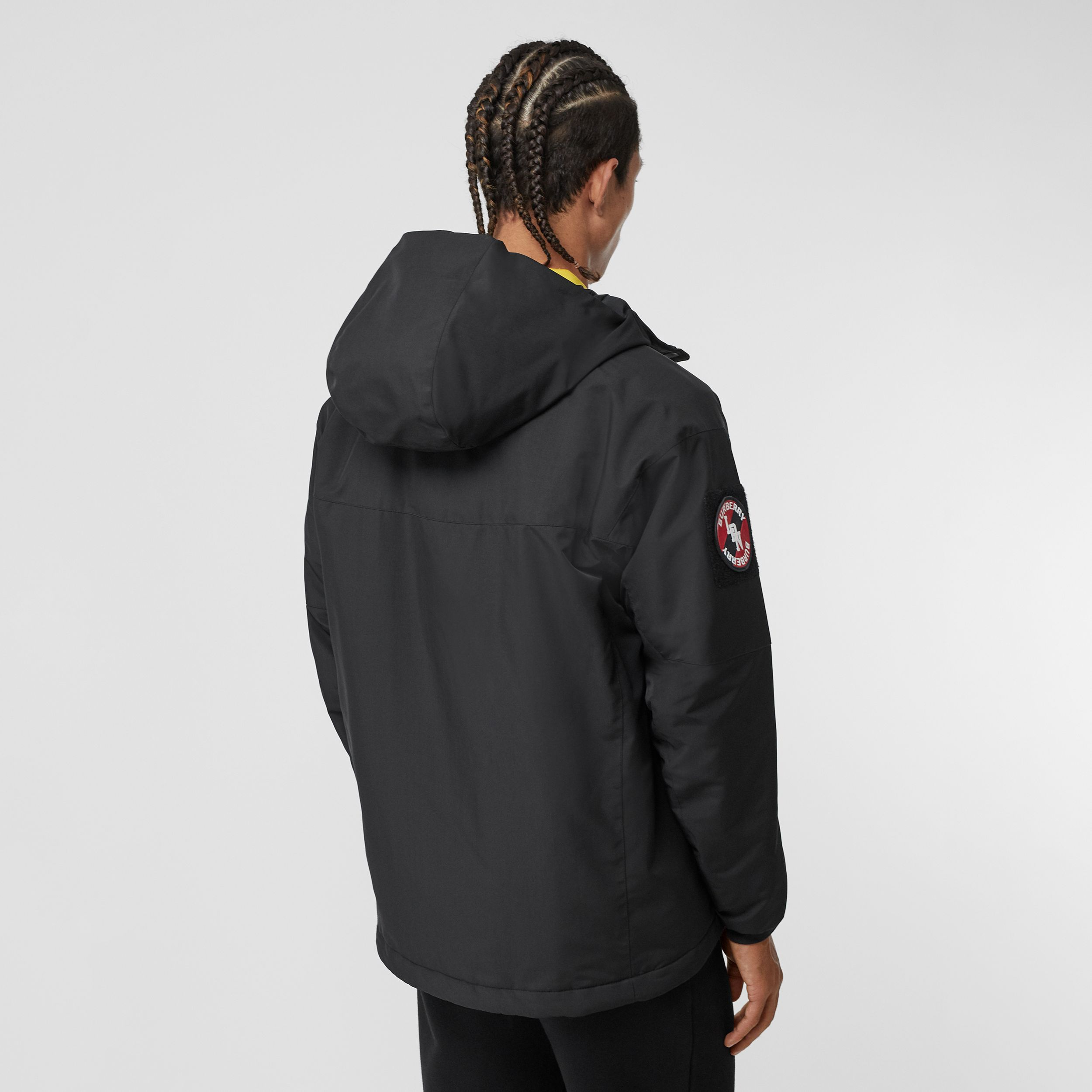 Logo Graphic Recycled Polyester Hooded Jacket in Black - Men | Burberry - 3