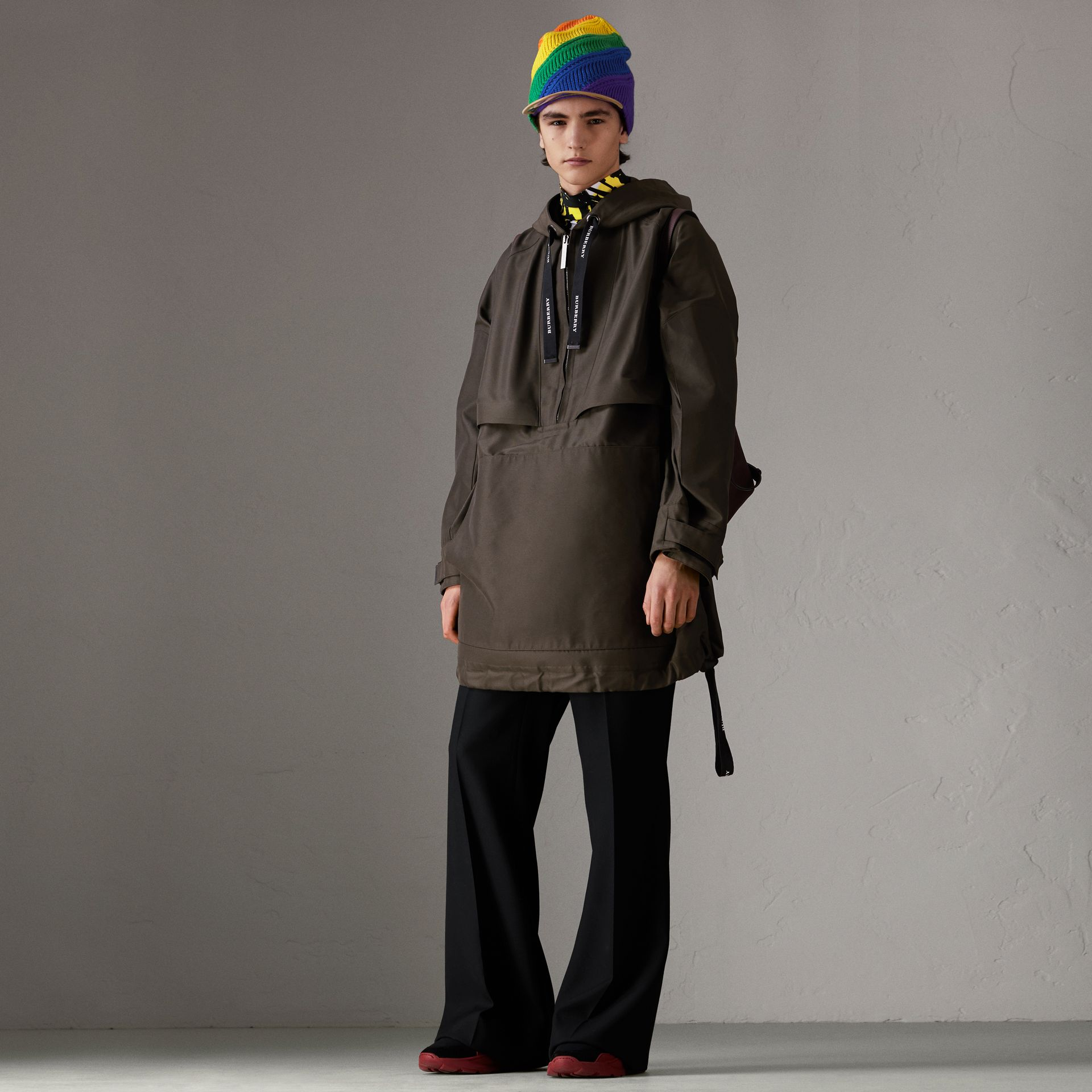 Bonded Canvas Oversized Anorak in Dark Forest Green | Burberry - gallery image 0