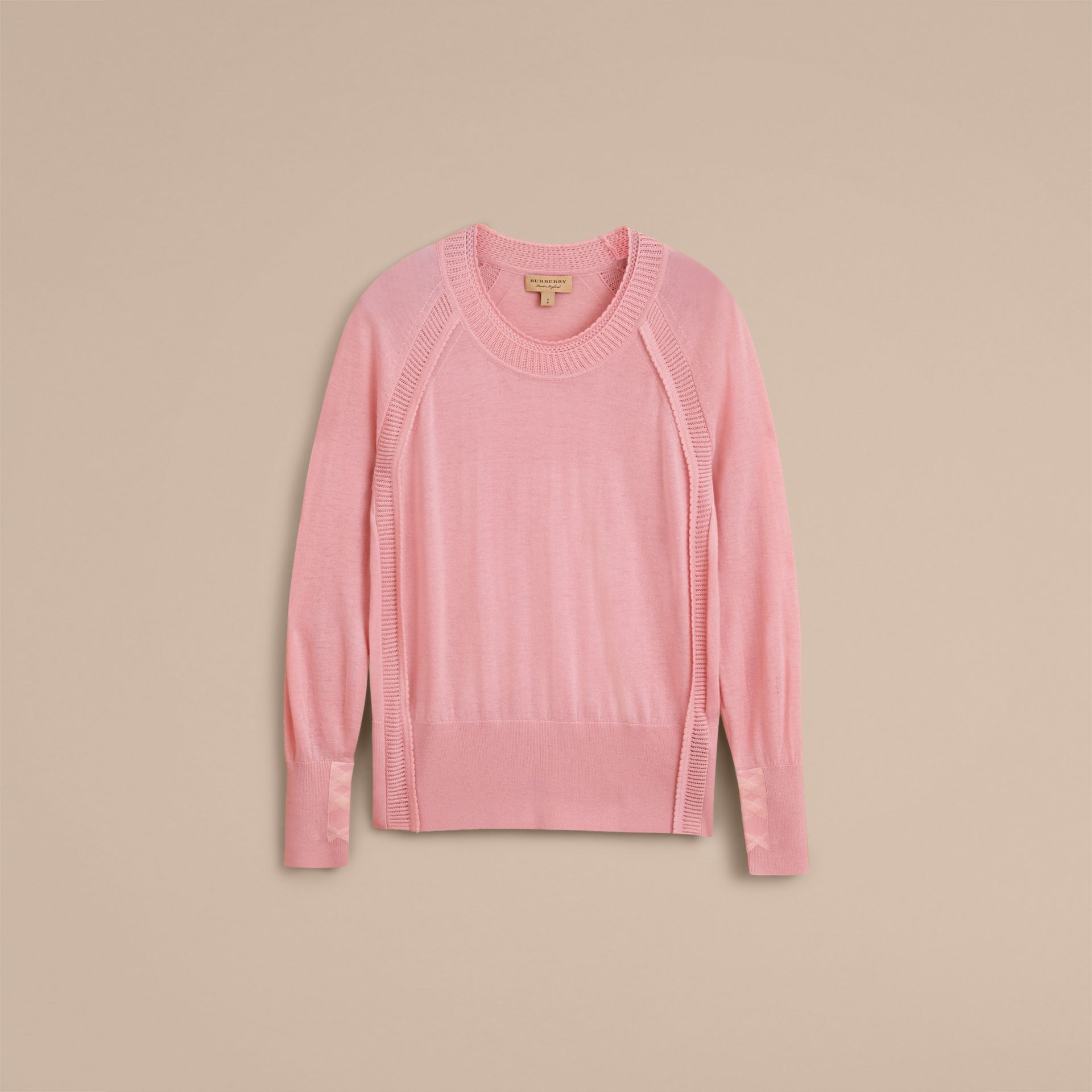 Open-knit Detail Cashmere Crew Neck Sweater in Apricot Pink - Women | Burberry - gallery image 4