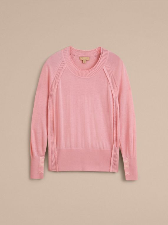 Open-knit Detail Cashmere Crew Neck Sweater in Apricot Pink - Women | Burberry Canada - cell image 3