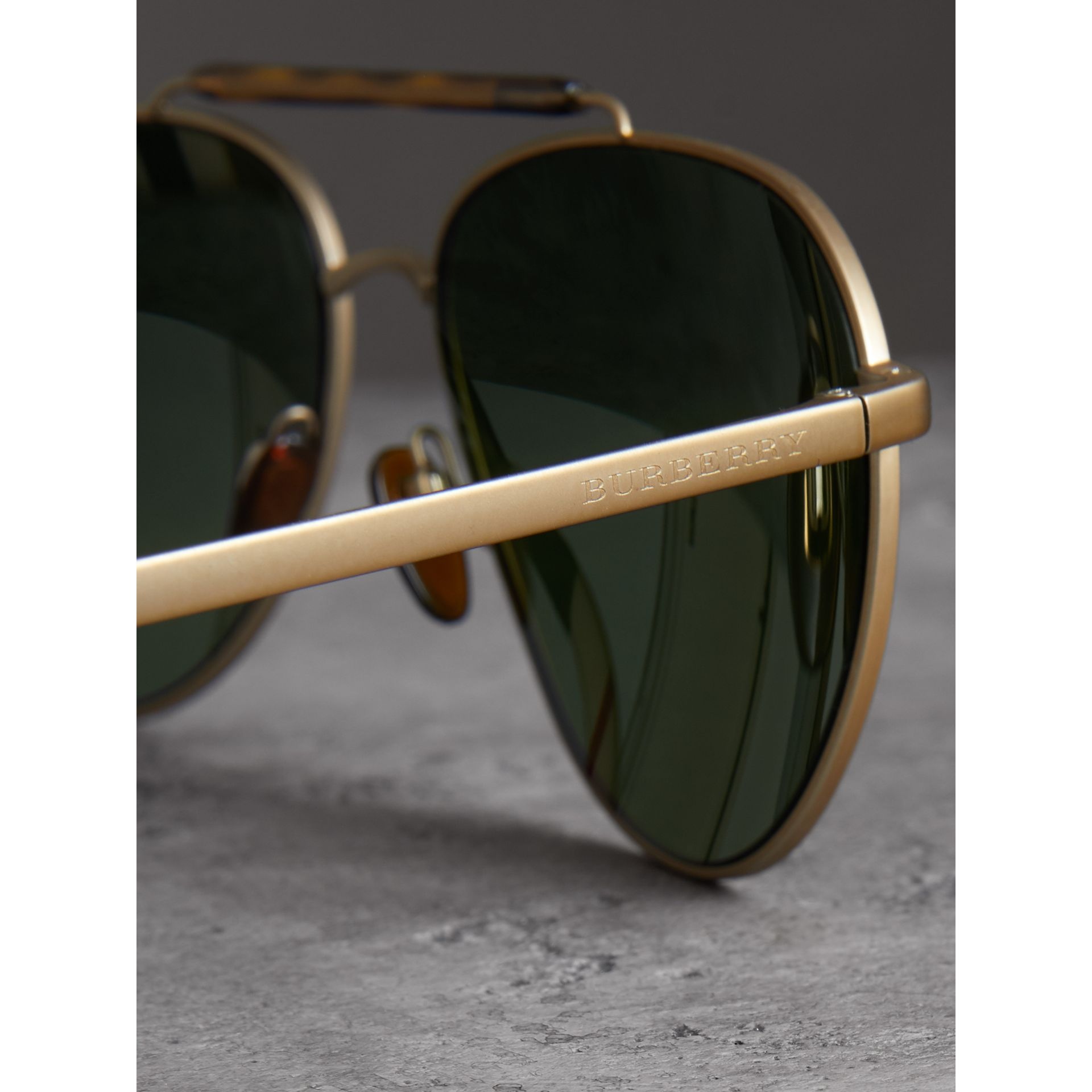 Top Bar Detail Pilot Sunglasses in Green - Men | Burberry - gallery image 1