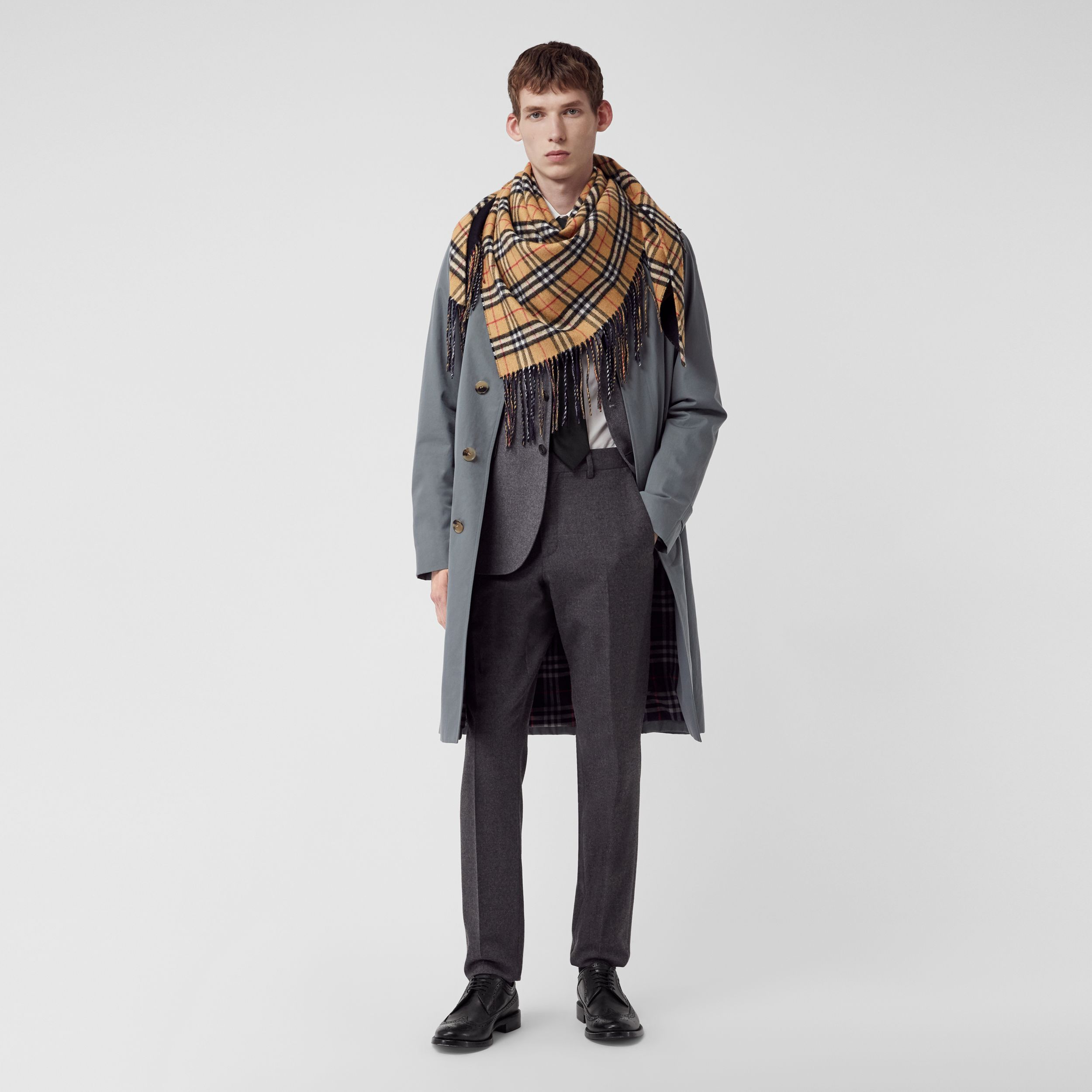 The Burberry Bandana in Vintage Check Cashmere in Blue Carbon - Men | Burberry - 4