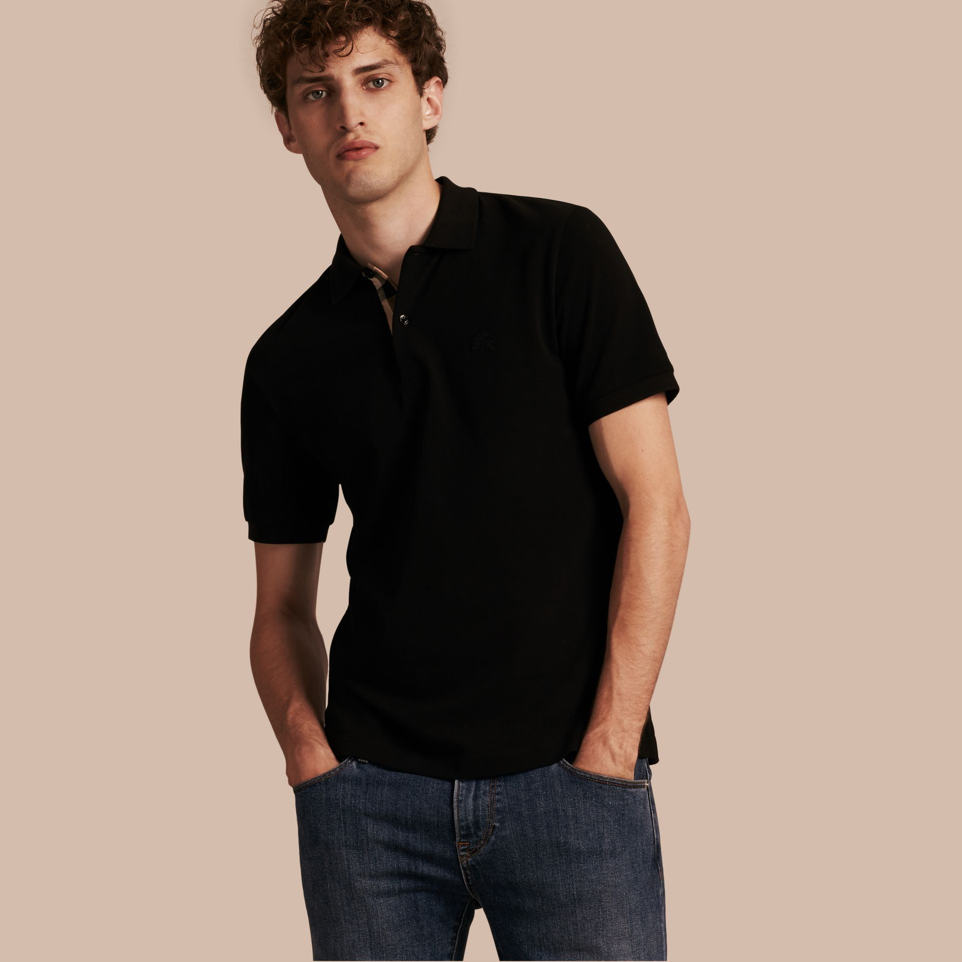 Black Check Placket Cotton Piqué Polo Shirt Black - gallery image 1