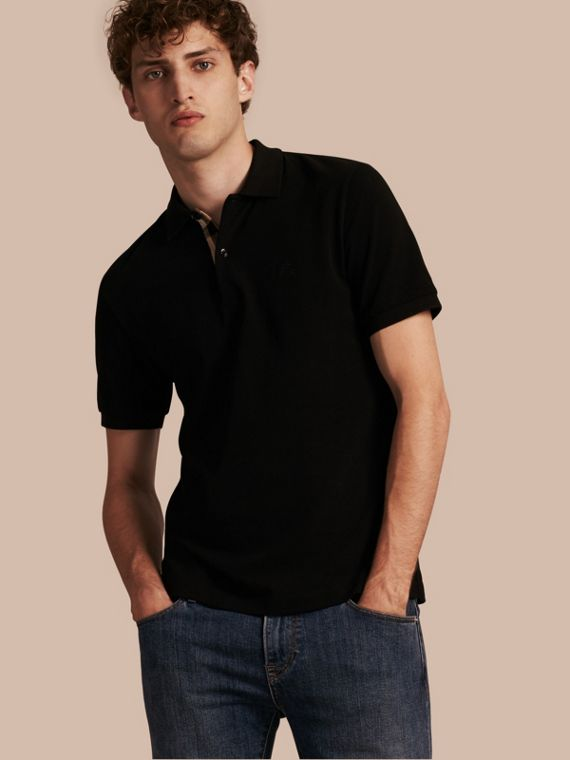 Check Placket Cotton Piqué Polo Shirt Black
