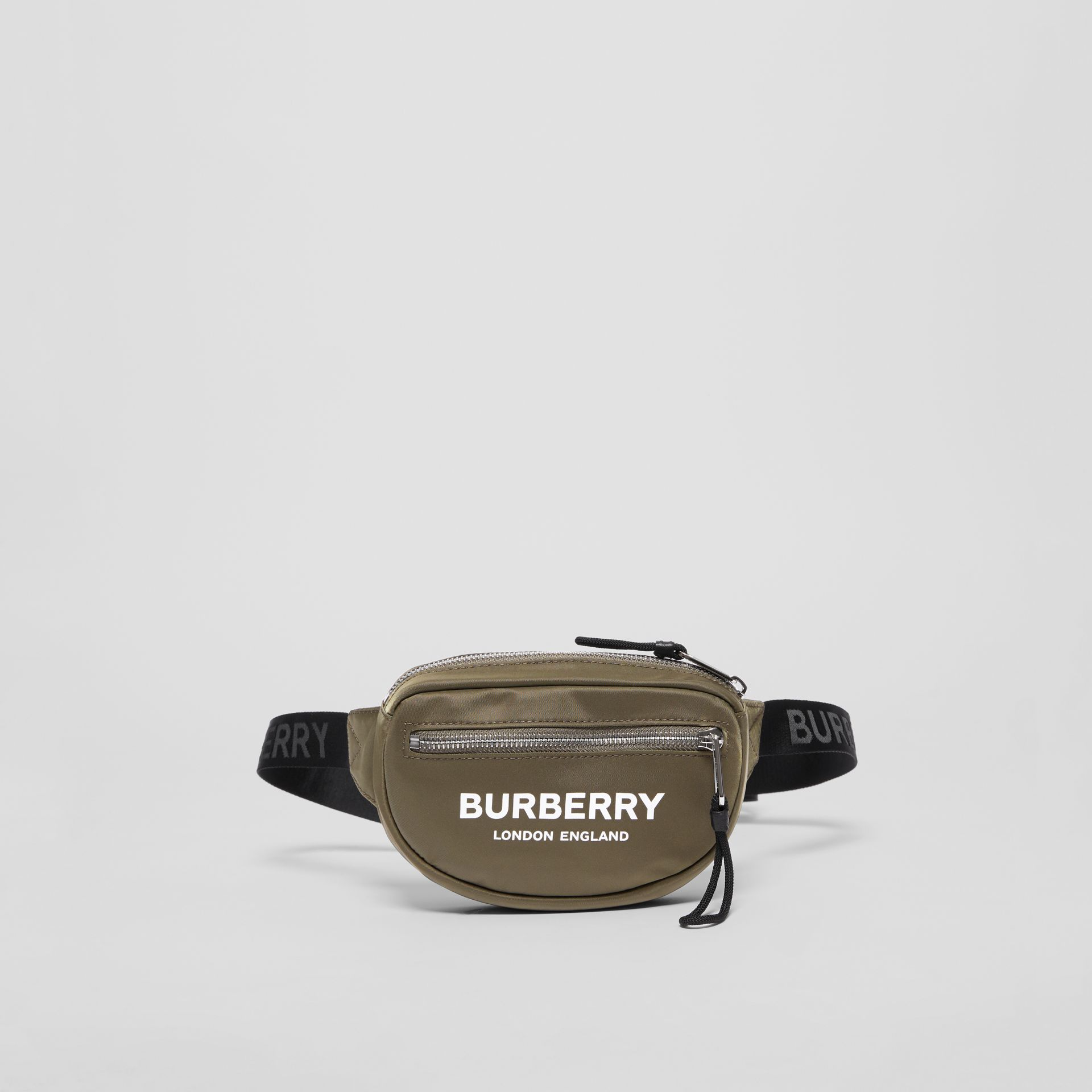 Small Logo Print Bum Bag in Canvas Green | Burberry United Kingdom - gallery image 0