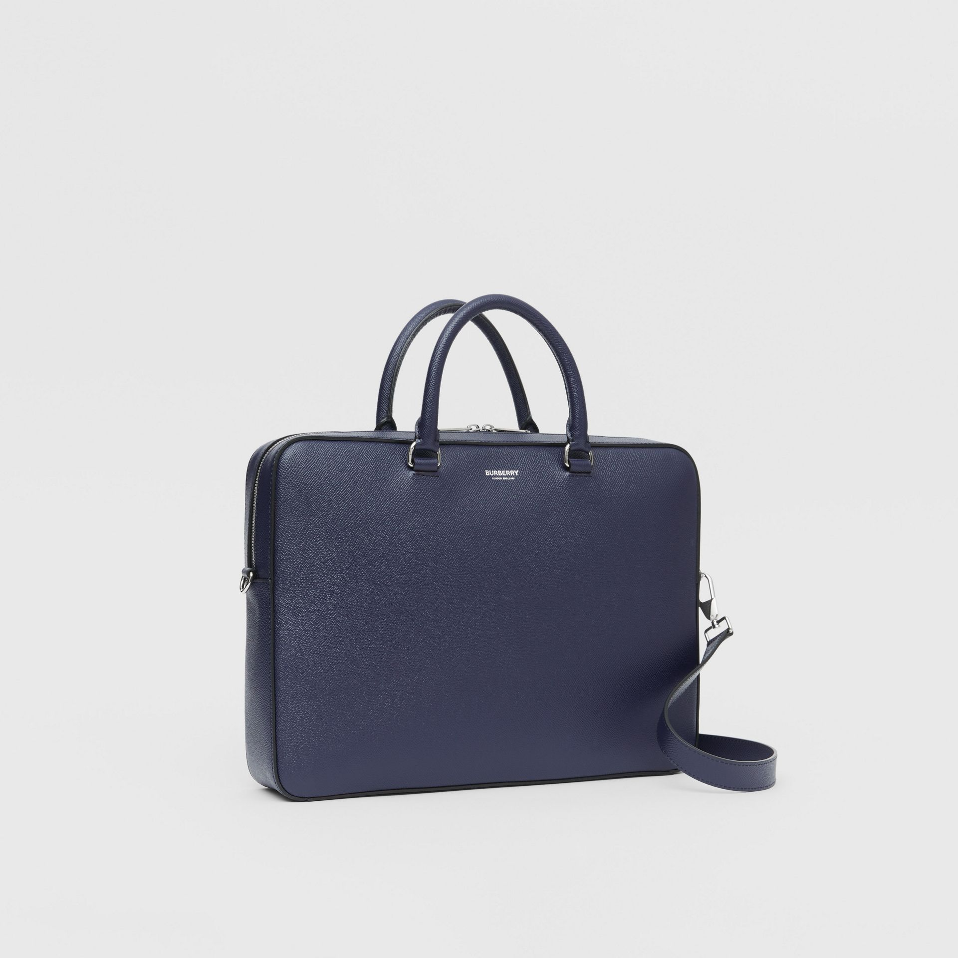 Grainy Leather Briefcase in Regency Blue - Men | Burberry Singapore - gallery image 6