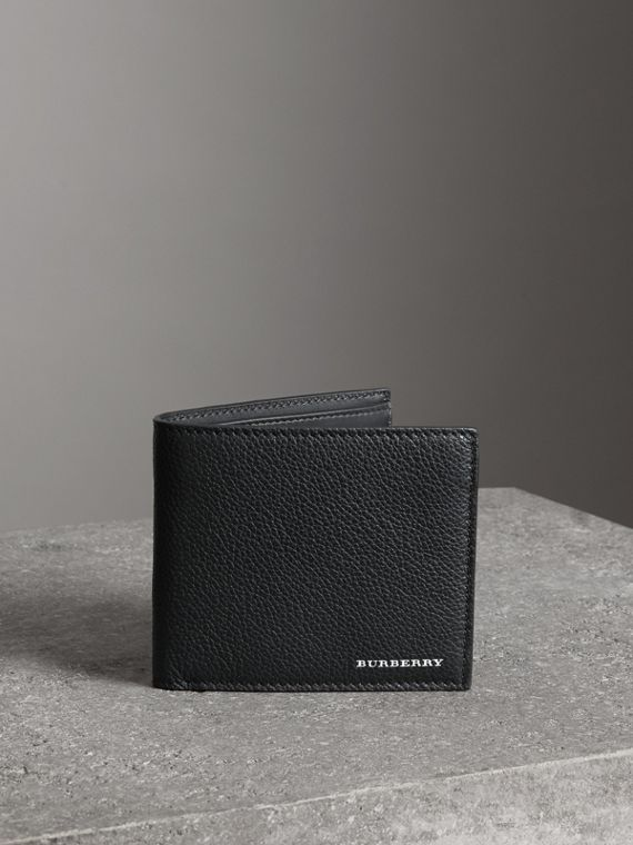 Faltbrieftasche aus genarbtem Leder für alle Währungen (Schwarz)