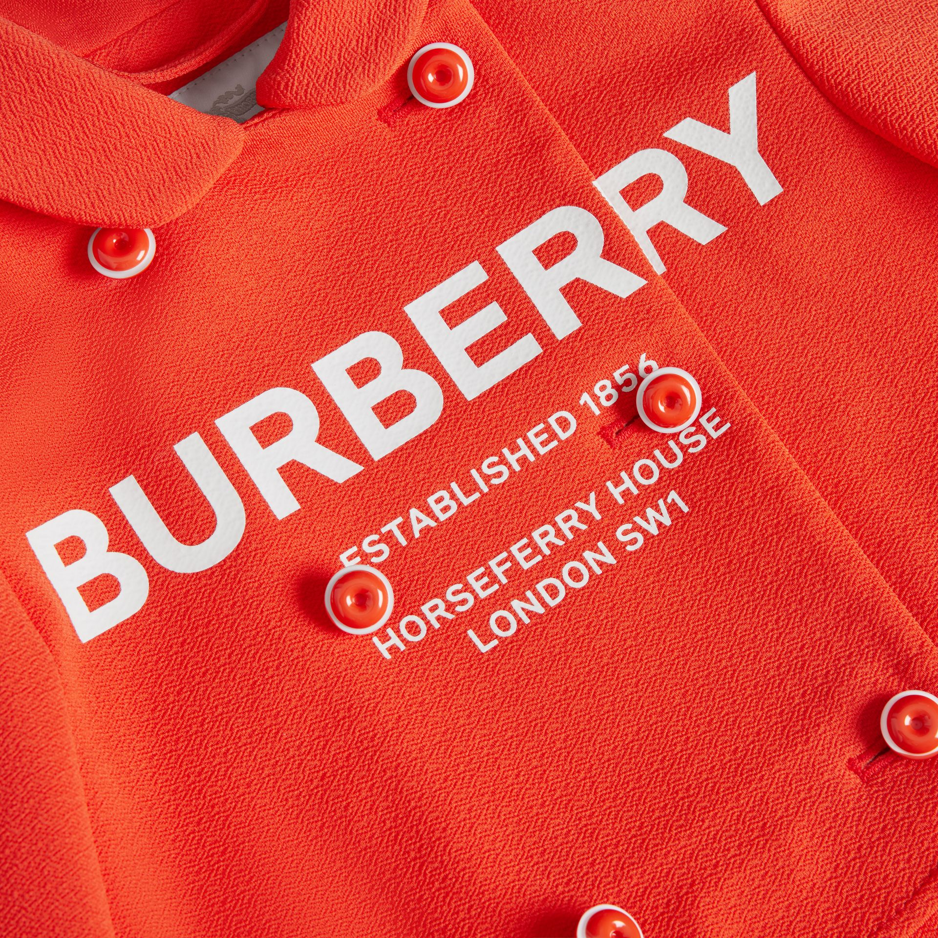 Logo Print Crepe Jersey Double-breasted Jacket in Bright Red | Burberry - gallery image 1