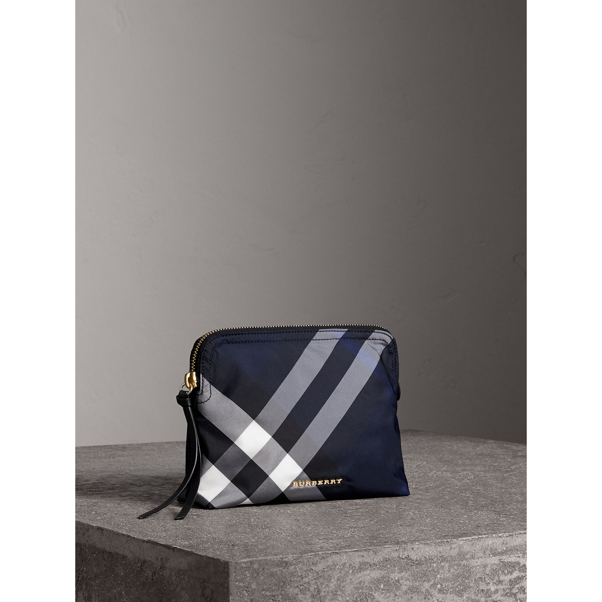 Large Zip-top Check Pouch in Indigo Blue - Women | Burberry - gallery image 5