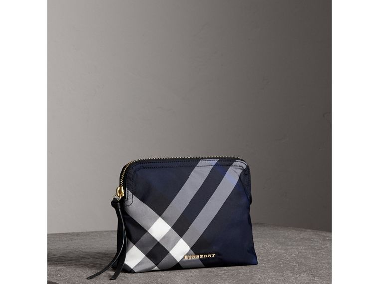 Large Zip-top Check Pouch in Indigo Blue - Women | Burberry - cell image 4