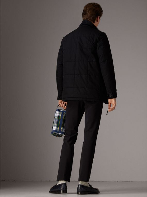 Reversible Quilted Tartan Cotton Jacket in Bright Navy - Men | Burberry - cell image 2