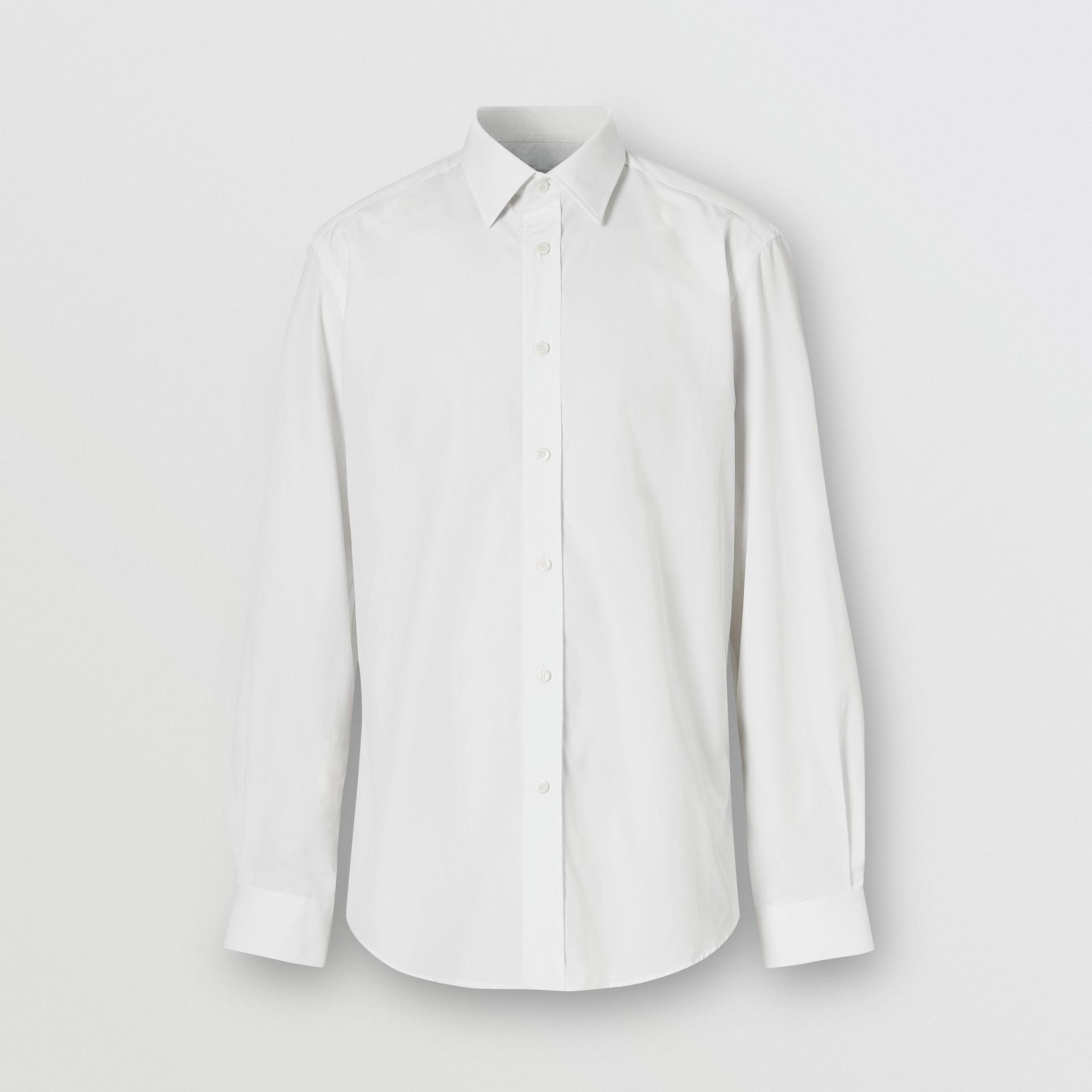 Classic Fit Monogram Motif Cotton Poplin Shirt in White - Men | Burberry United Kingdom - gallery image 3