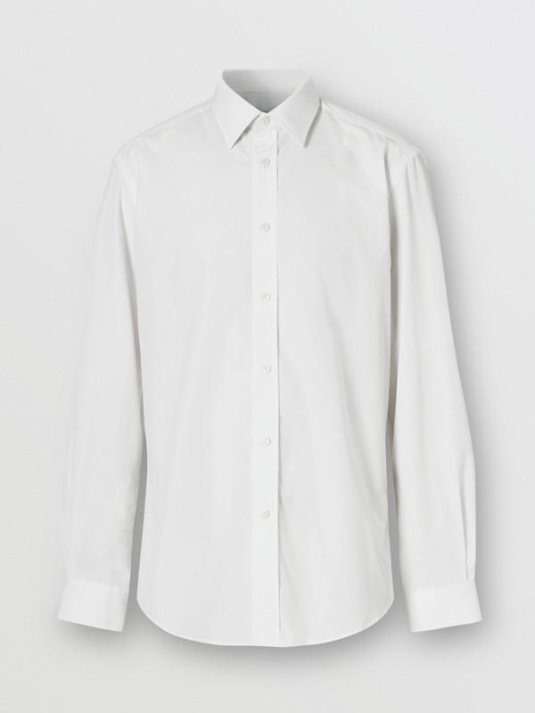 Classic Fit Monogram Motif Cotton Poplin Shirt in White - Men | Burberry United Kingdom - cell image 3