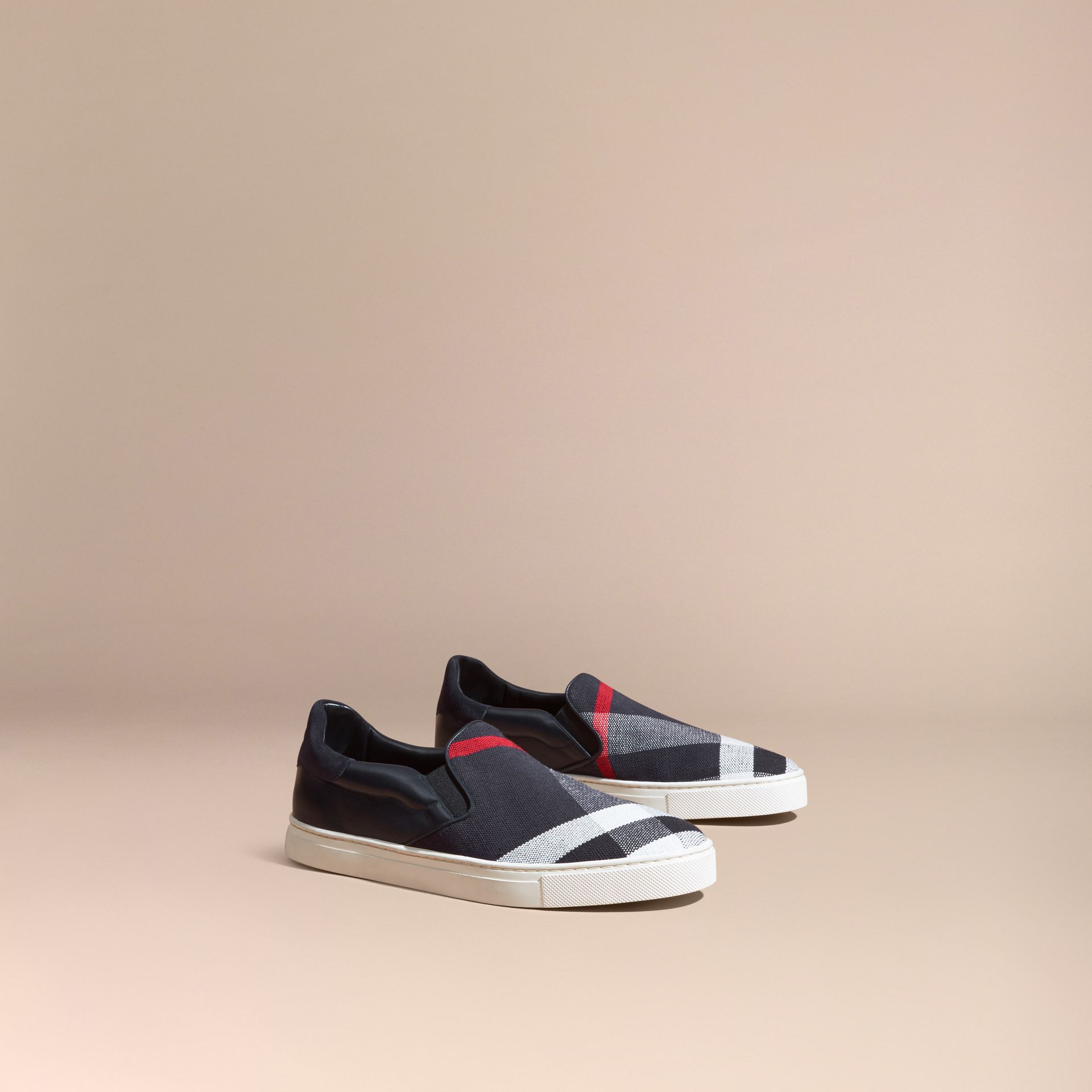 Dark indigo Canvas Check and Leather Slip-on Trainers Dark Indigo - gallery image 1