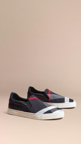 Sneaker senza lacci con pelle e motivo Canvas check