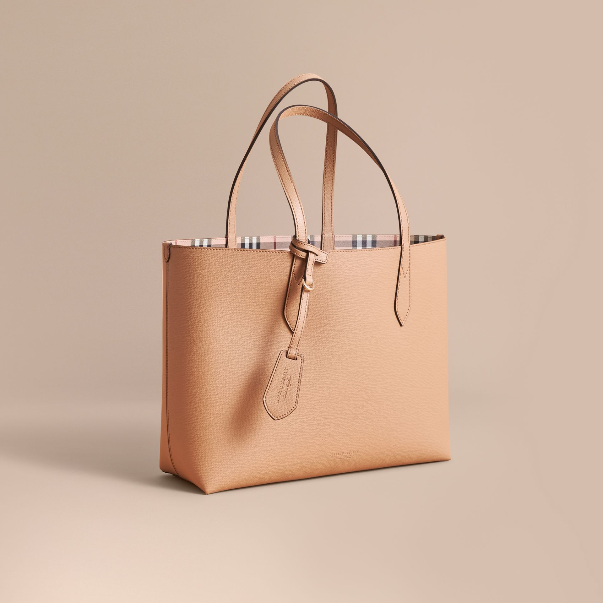 The Medium Reversible Tote in Haymarket Check and Leather in Mid Camel - Women | Burberry Australia - gallery image 1