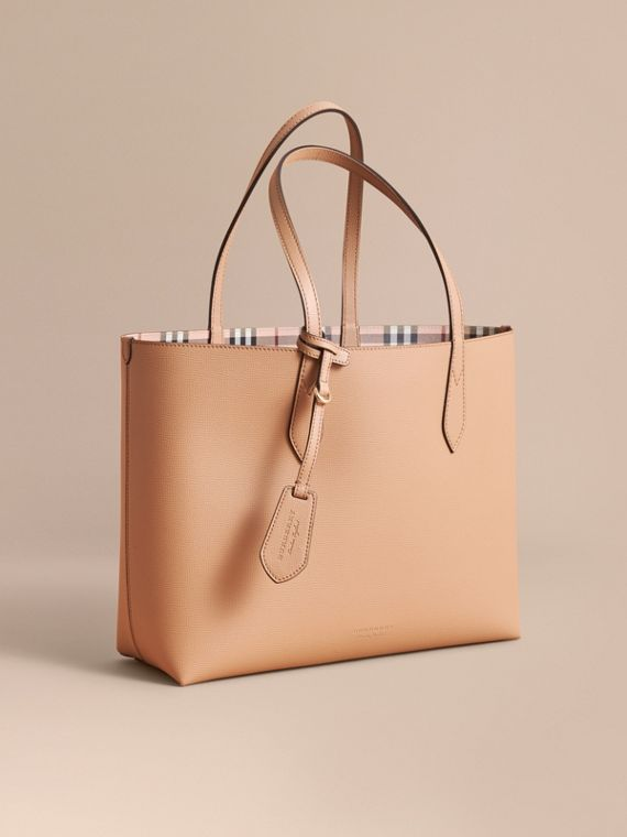 The Medium Reversible Tote in Haymarket Check and Leather Mid Camel