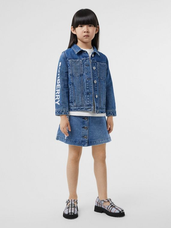 Logo Print Japanese Denim Skirt in Indigo