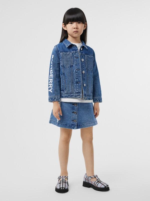 Saia de tecido jeans japonês com estampa de logotipo (Índigo) | Burberry - cell image 2
