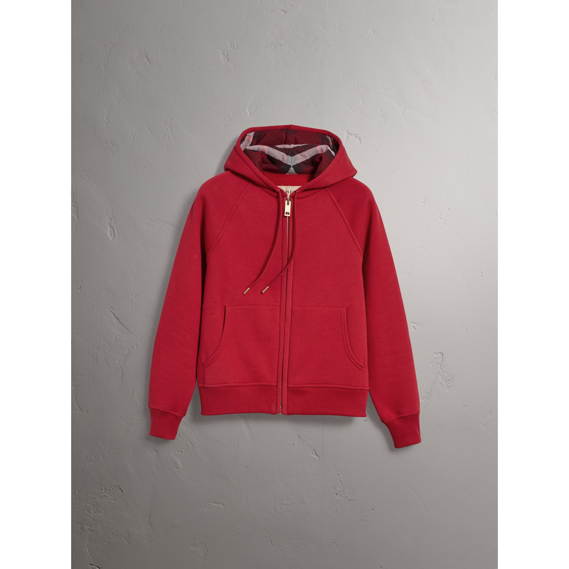 Hooded Zip-front Cotton Blend Sweatshirt in Parade Red - Women | Burberry United Kingdom - gallery image 3