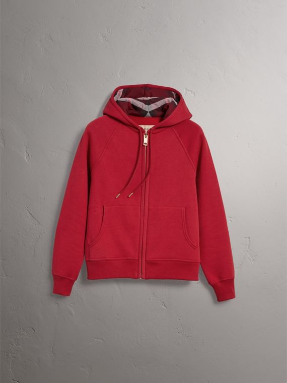 Hooded Zip-front Cotton Blend Sweatshirt in Parade Red - Women | Burberry Singapore - cell image 3
