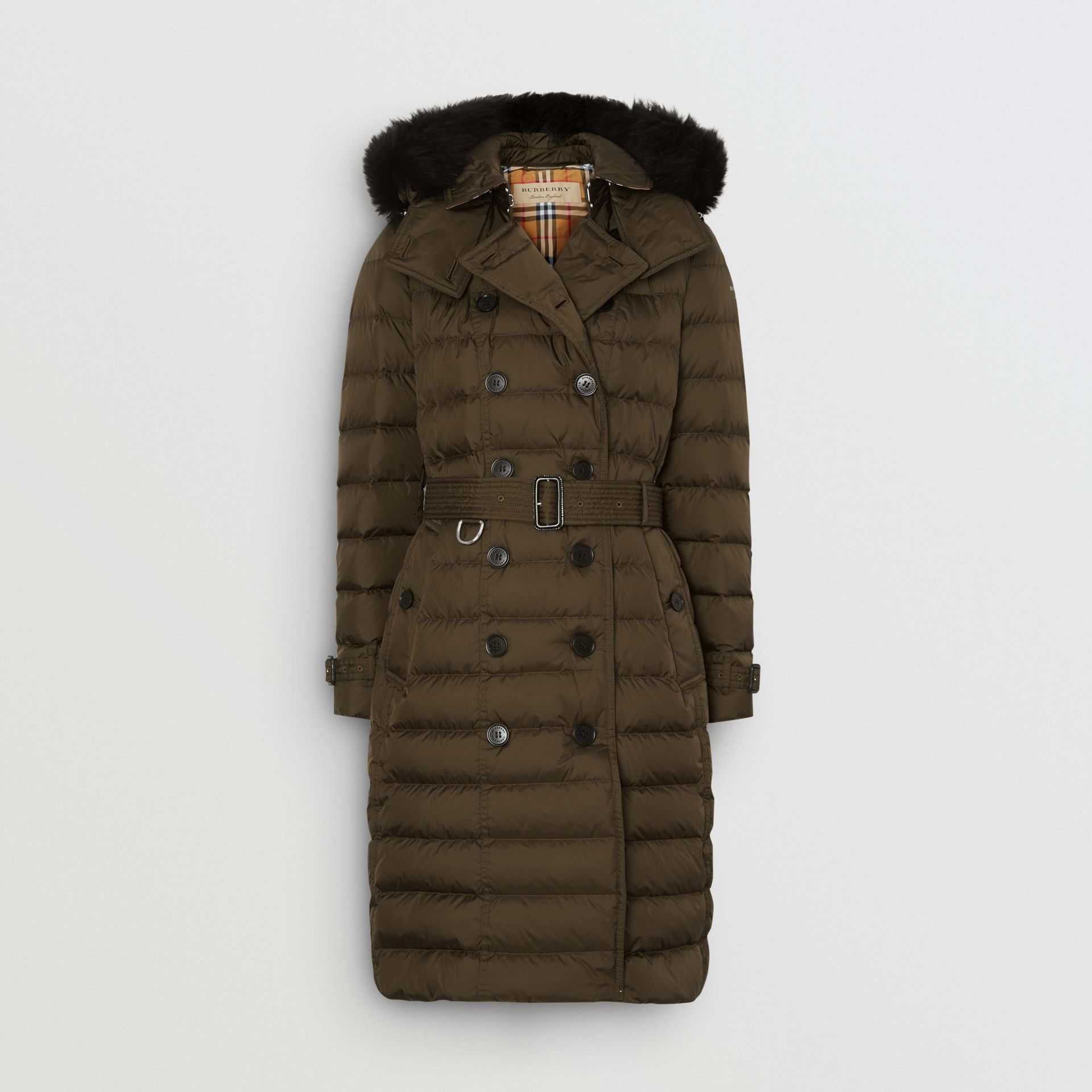 Detachable Hood Down-filled Puffer Coat in Dark Olive - Women | Burberry - gallery image 3