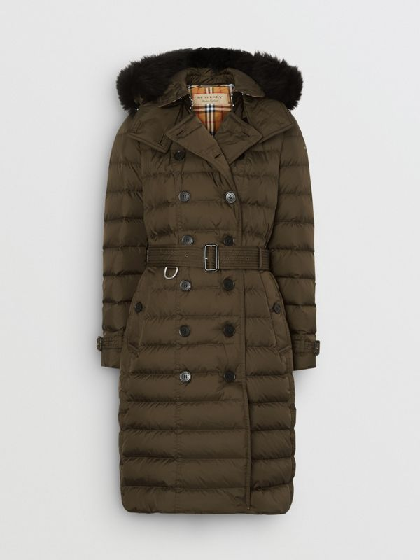 Detachable Hood Down-filled Puffer Coat in Dark Olive - Women | Burberry - cell image 3