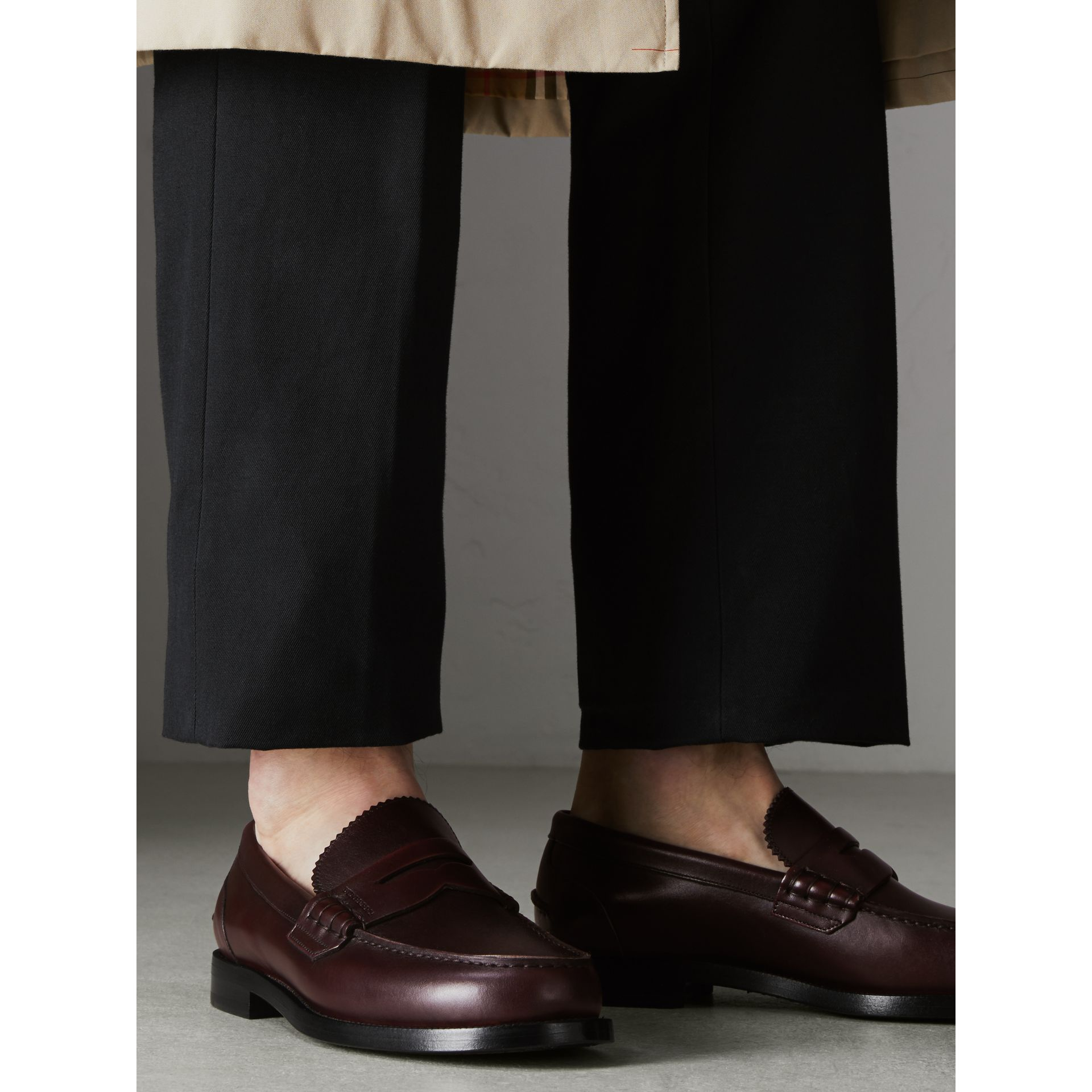Leather Penny Loafers in Bordeaux - Men | Burberry - gallery image 2