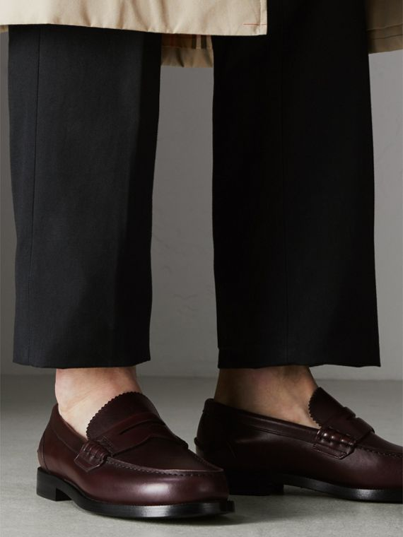 Leather Penny Loafers in Bordeaux - Men | Burberry - cell image 2