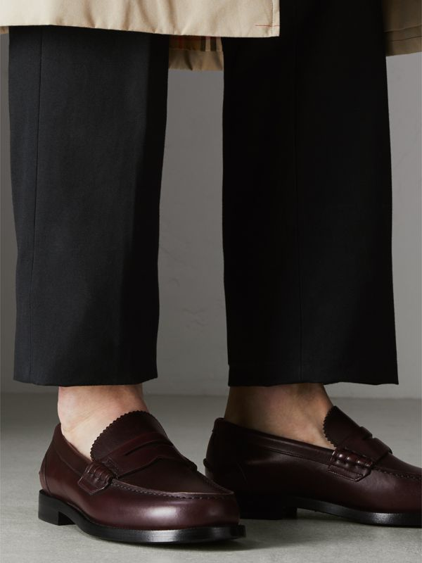 Leather Penny Loafers in Bordeaux - Men | Burberry Singapore - cell image 2