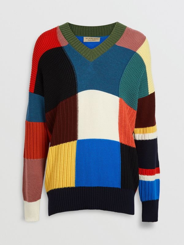 Patchwork Wool V-neck Sweater in Navy - Men | Burberry Australia - cell image 3