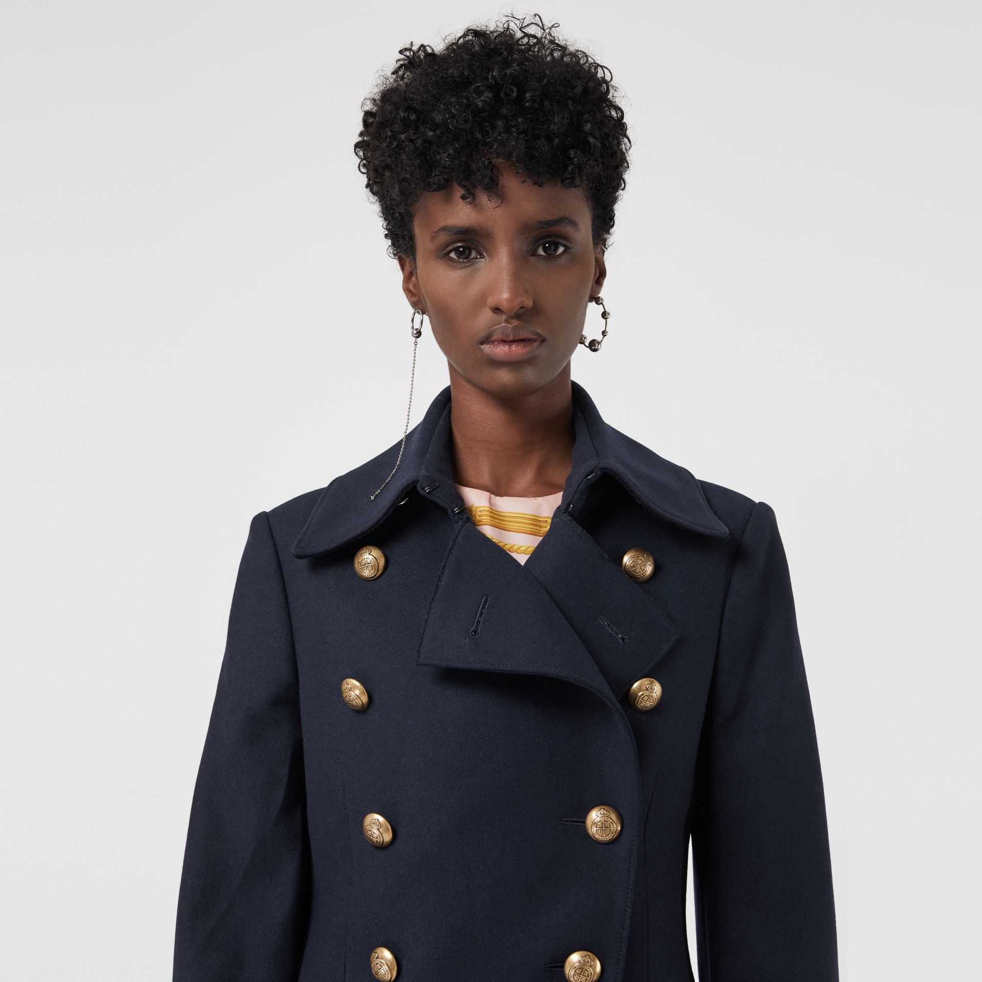 Double-breasted Wool Cashmere Blend Tailored Coat in Navy - Women | Burberry - gallery image 1