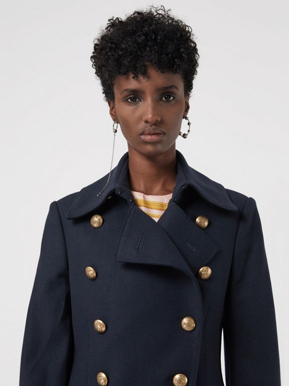 Double-breasted Wool Cashmere Blend Tailored Coat in Navy - Women | Burberry - cell image 1