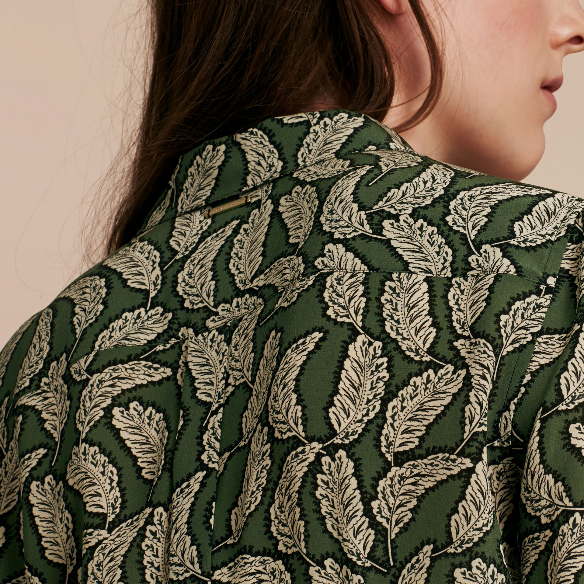 Dusty green Leaf Print Silk Shirt Dusty Green - gallery image 5