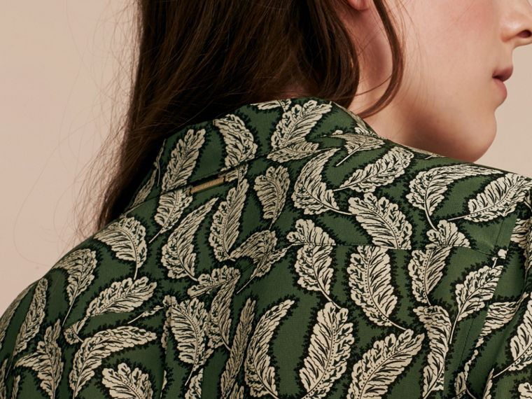 Dusty green Leaf Print Silk Shirt Dusty Green - cell image 4