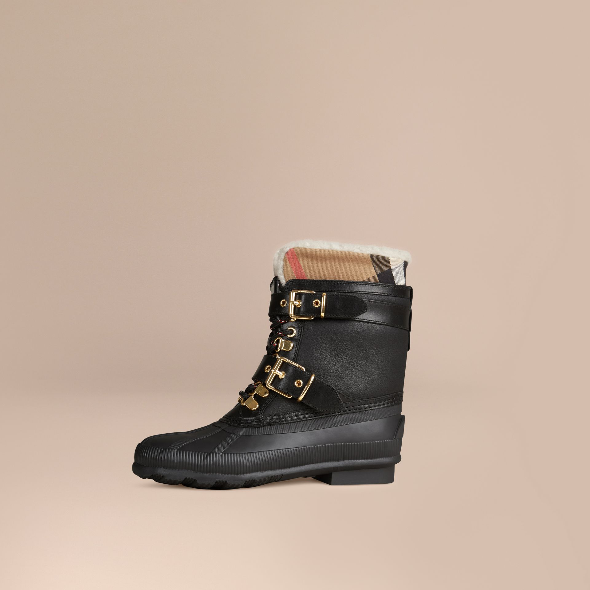 Black Sueded Shearling and Check Duck Boots - gallery image 1