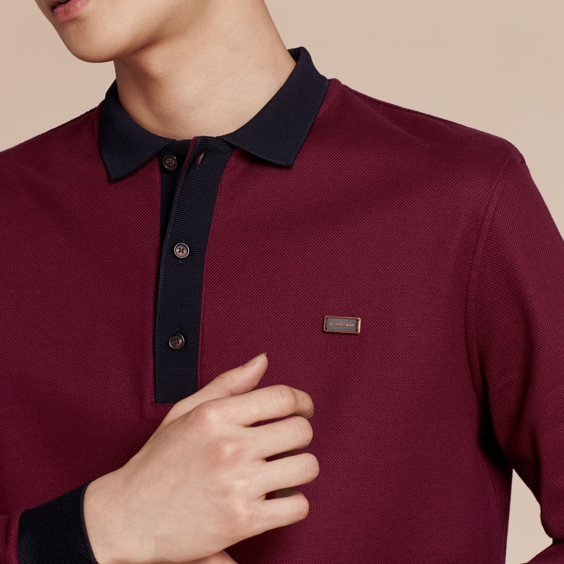 Boysenberry/navy Long-sleeved Cotton Piqué Polo Shirt Boysenberry/navy - gallery image 6