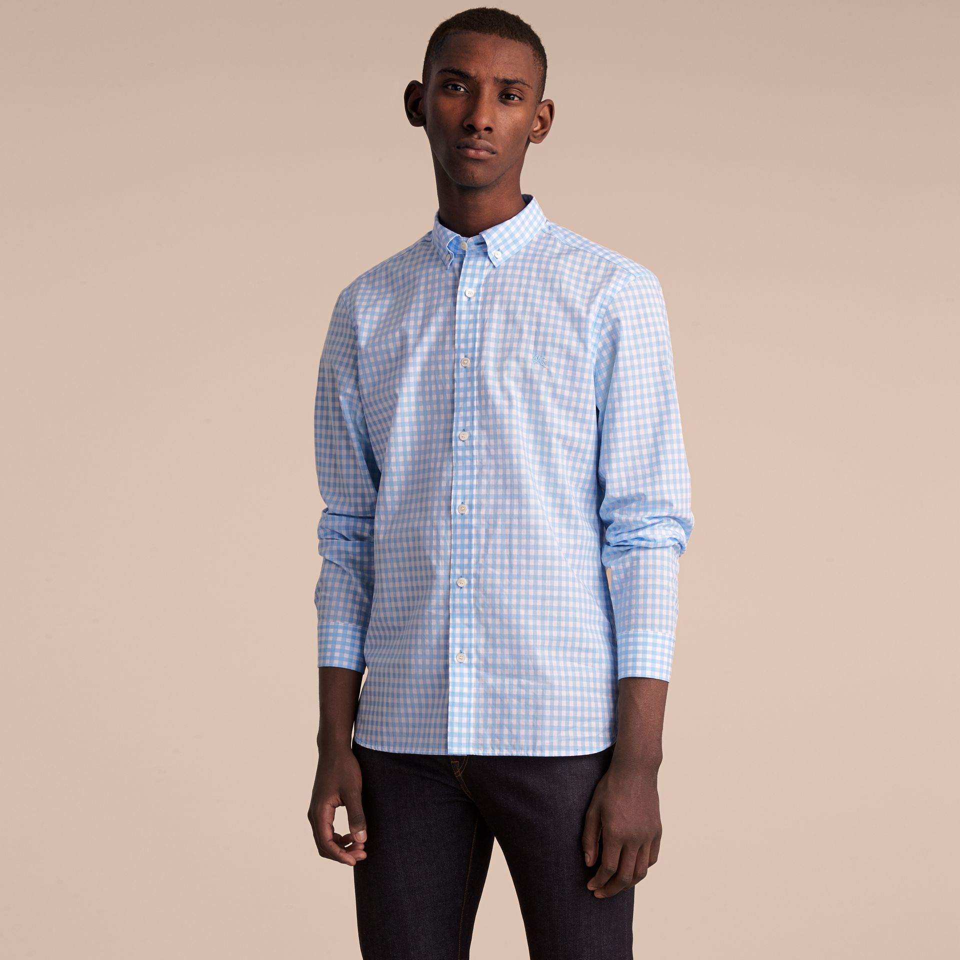 Button-down Collar Gingham Cotton Shirt Pale Blue - gallery image 6