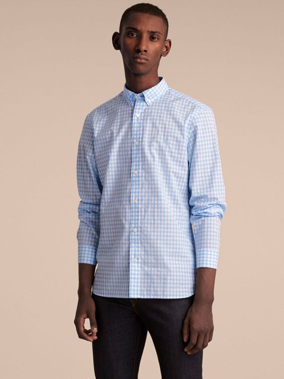Button-down Collar Gingham Cotton Shirt in Pale Blue