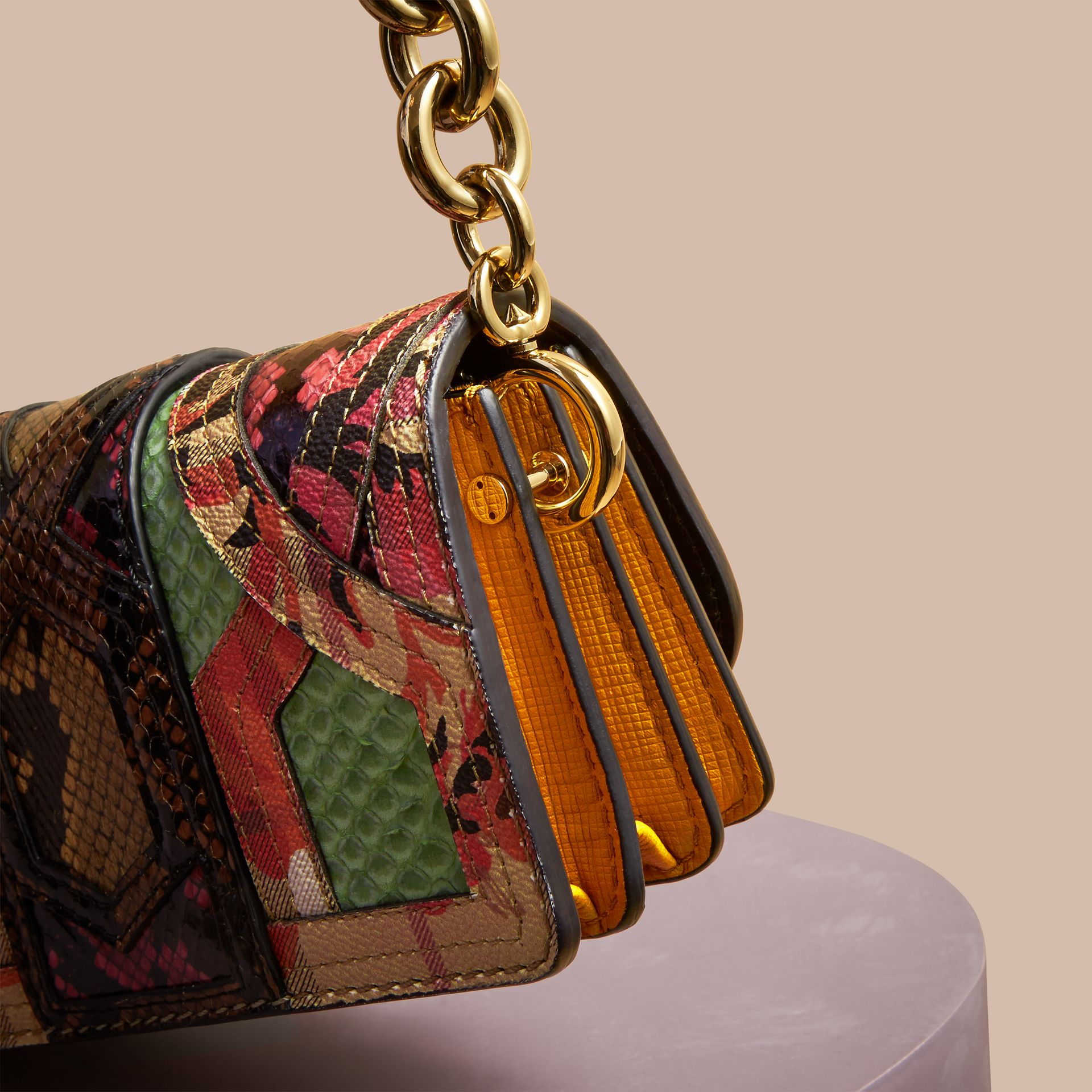 Pale green The Small Buckle Bag in Snakeskin and Floral Print - gallery image 2