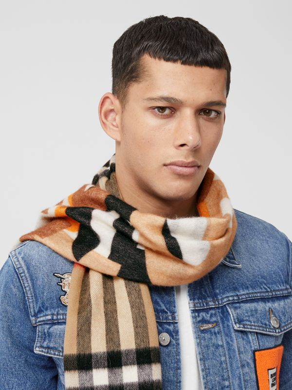 Block Print Check Cashmere Scarf in Walnut | Burberry - cell image 3