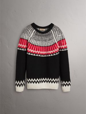 Fair Isle Wool Cashmere Sweater in Black/ Military Red - Men ...