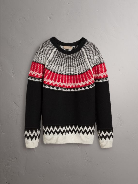 Fair Isle Wool Cashmere Sweater in Black/ Military Red