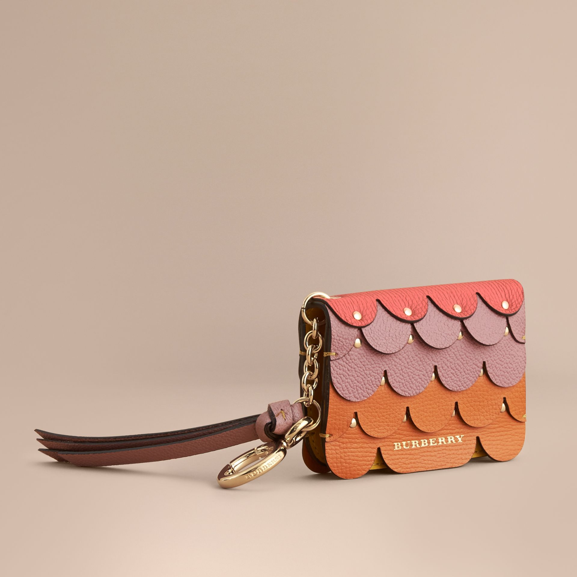 Scalloped Leather Card Case Bright Straw - gallery image 1