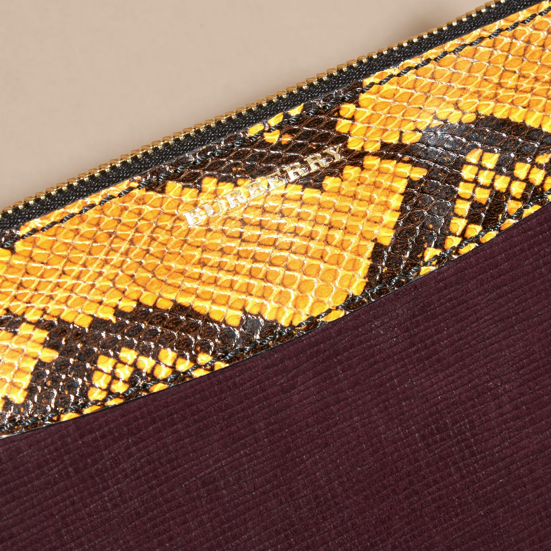 Leather, House Check and Snakeskin Clutch Bag in Elderberry - gallery image 7