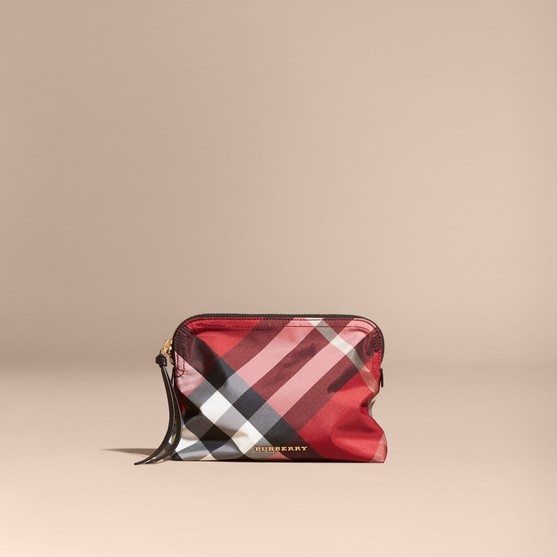 Large Zip-top Check Pouch Parade Red - gallery image 6